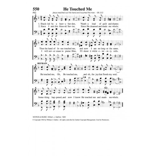 He Touched Me Pdf Song Sheet