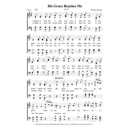 From The Ground Up Sheet Music With Lyrics: His Grace Reaches Me-4 Part-PDF Song Sheet