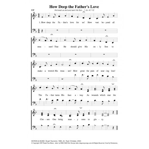 How Deep Are Bathroom Cabinets: How Deep The Father's Love-PDF Song Sheet