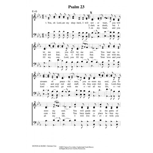 Psalm 23 Cox Pdf Song Sheets