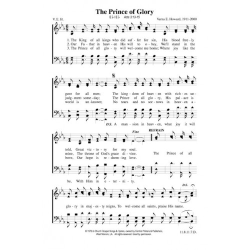 The Prince of Glory - PDF Song Sheet