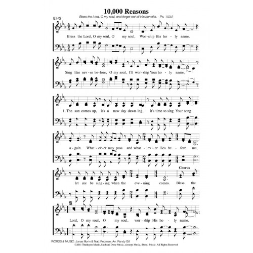 10,000 Reasons PDF Song Sheet