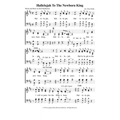 Hallelujah To The Newborn King Pdf Song Sheet